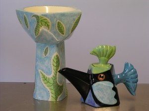 Leaf Fall djembe & Blue Wren teapot